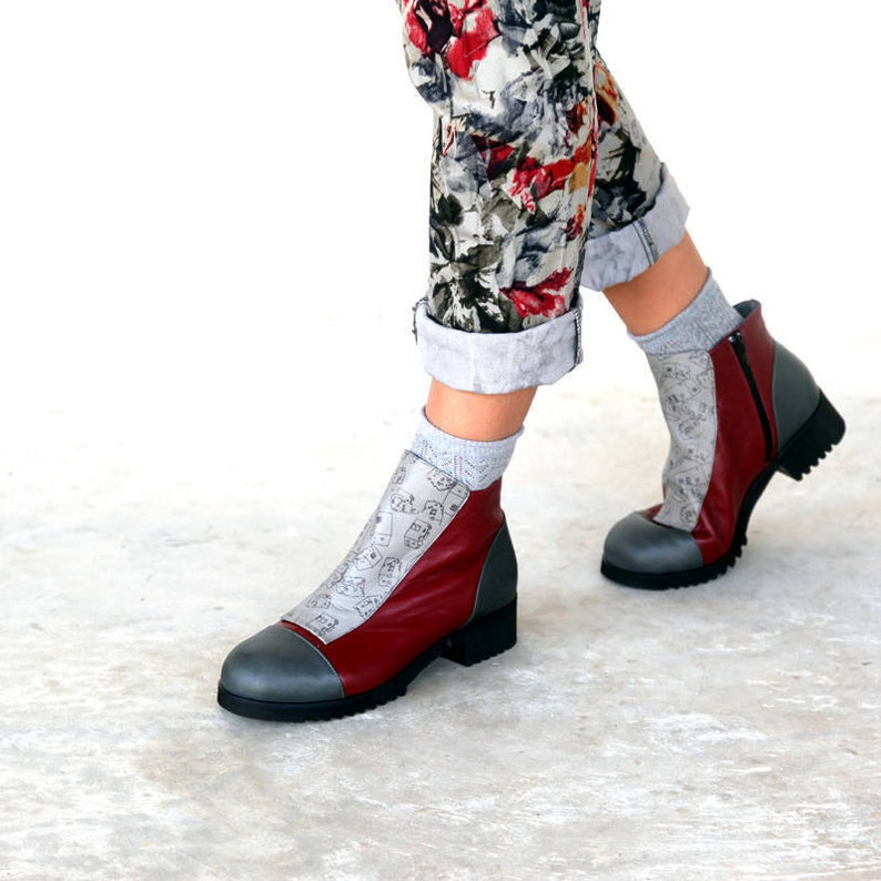 3ea667cdf3ad Burgundy Winter Boots Red Leather woman shoes Burgundy