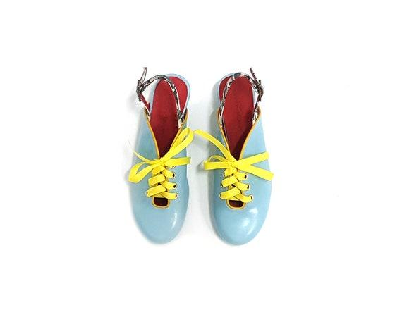 yellow shoes shoes pumps Light Women's leather tie style close blue Blue heel strap shoes pump shoes Vintage Low pumps toe leather with n1pxvF