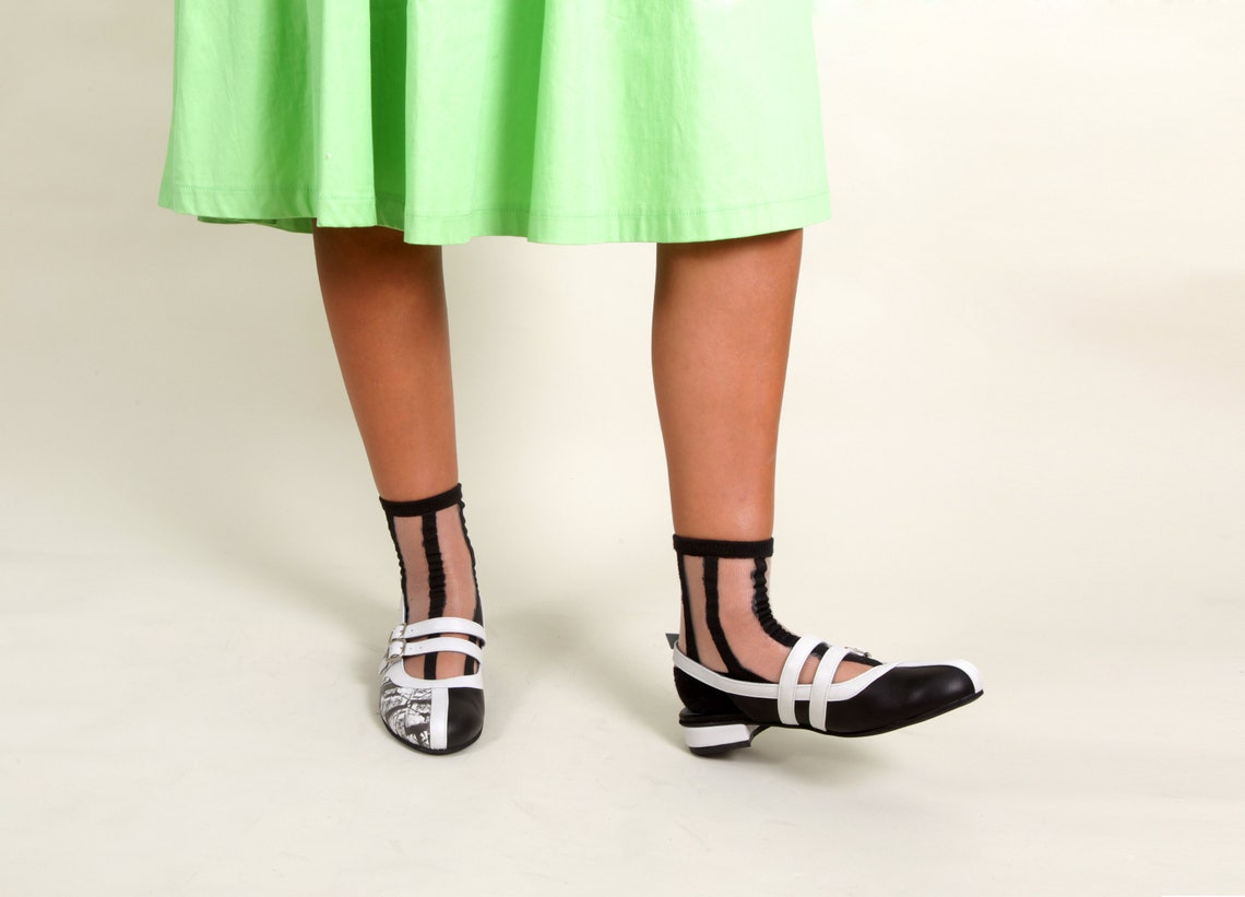 Monochrome Sandals, Black and White Sandals for Women Leather Sandals, Handmade Summer Shoes, Close Toe Strap Sandals, Women's Flat Sandals