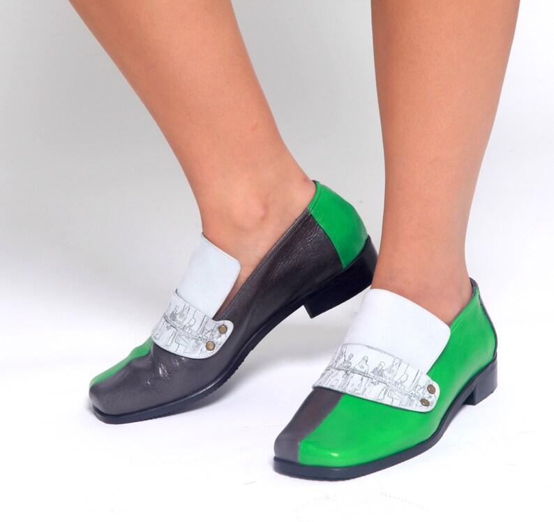 new arrival c2480 7af5a Vintage Lederschuhe. Frauen grün Lederschuhe für Frauen grün Lederschuhe.  Flache Leder Schuhe Damen Leder Schuhe. Leder-Schuhe