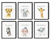 Safari Nursery Decor, Nursery Prints, Animal Print Sets of 6, Safari Nursery Wall Art, Lion, Elephant Giraffe, Hippo