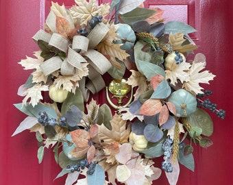 Fall Wreath, Farmhouse Decor, Pumpkin Wreath