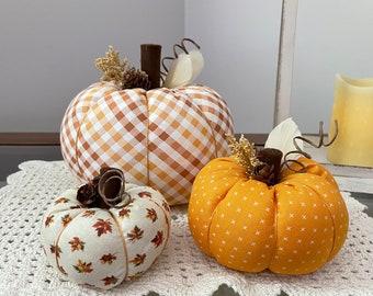 Fabric Pumpkins, Farmhouse Decor, Fall