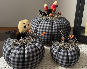 Fabric Pumpkins, Halloween Decor, Fall