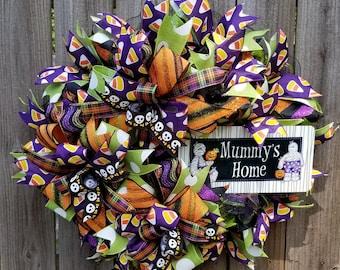 Halloween Wreath, Halloween Decor, Fall