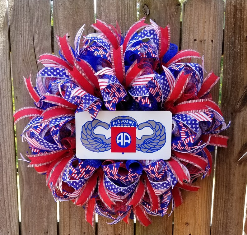 Patriotic Front Door Wreath Memorial Day Wreath, Military Wreath Red White and Blue Wreath Patriotic Wreath Army Airborne Wreath
