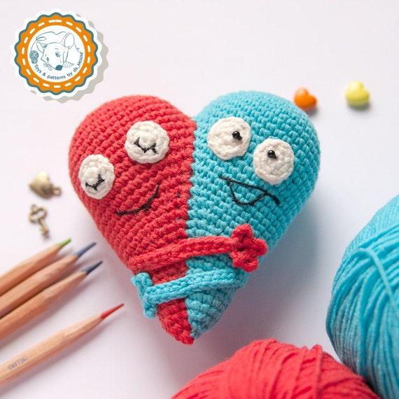 Pattern Double Heart Crochet Pattern Amigurumi Pattern Etsy