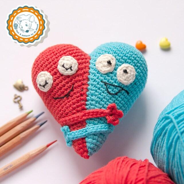 PATTERN Double Heart crochet pattern amigurumi pattern | Etsy