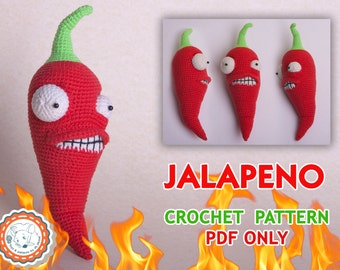 "PATTERN – Jalapeno from ""Plants vs Zombies"" - crochet pattern, amigurumi pattern, pdf, tutorial PDF file"