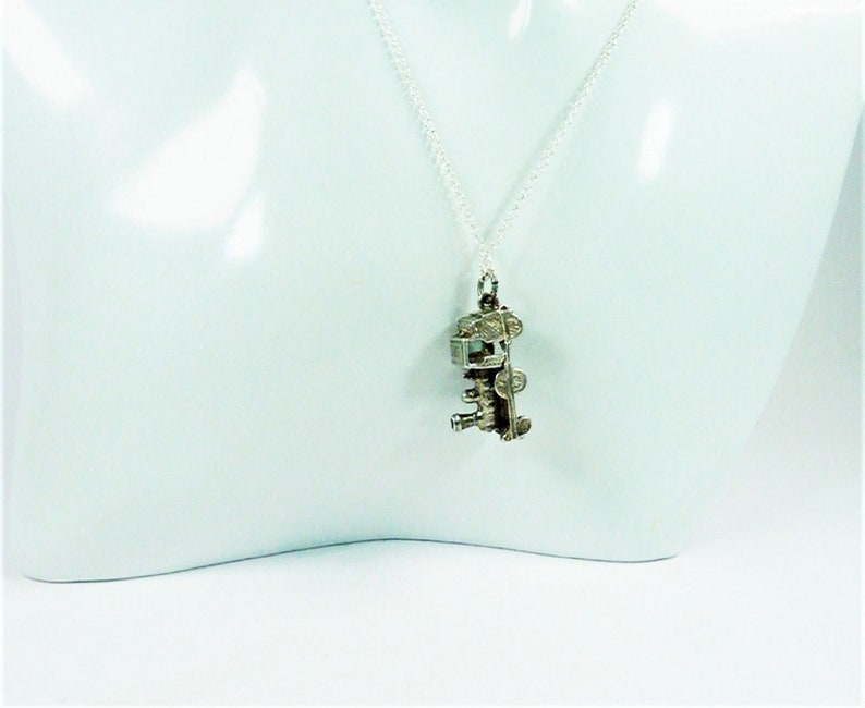 1950s British Handmade Sterling Silver Steam Train Charm With 45 cm Sterling Silver Necklace