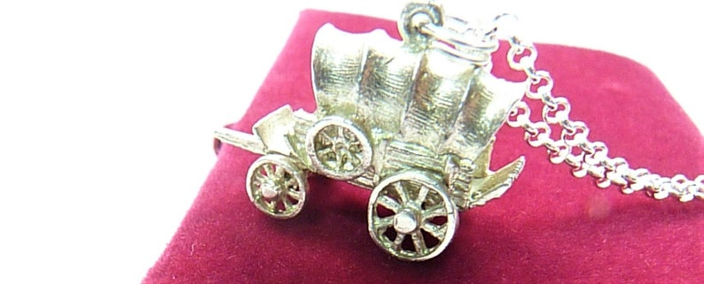 Sterling Silver Western Covered Wagon Pendant Charm With 18 Inch Sterling Necklace