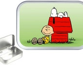 Snoopy 1oz silver hinged tobacco tin,pill box,storage tin