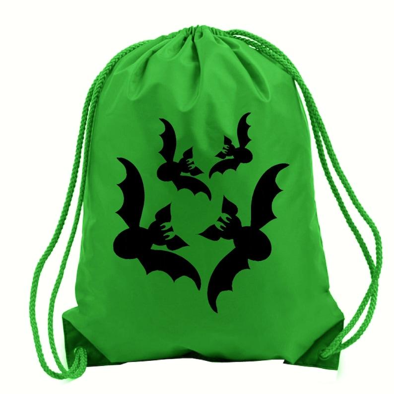Bats Halloween green gym bag,trick or treat,school bag,water resistant drawstring bag.