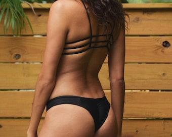 624d9ccc722 Reversible Cheeky Bikini Bottom, Brazilian Cut Thong Bathing Suit, Seamless  Swimwear (various fabric options)
