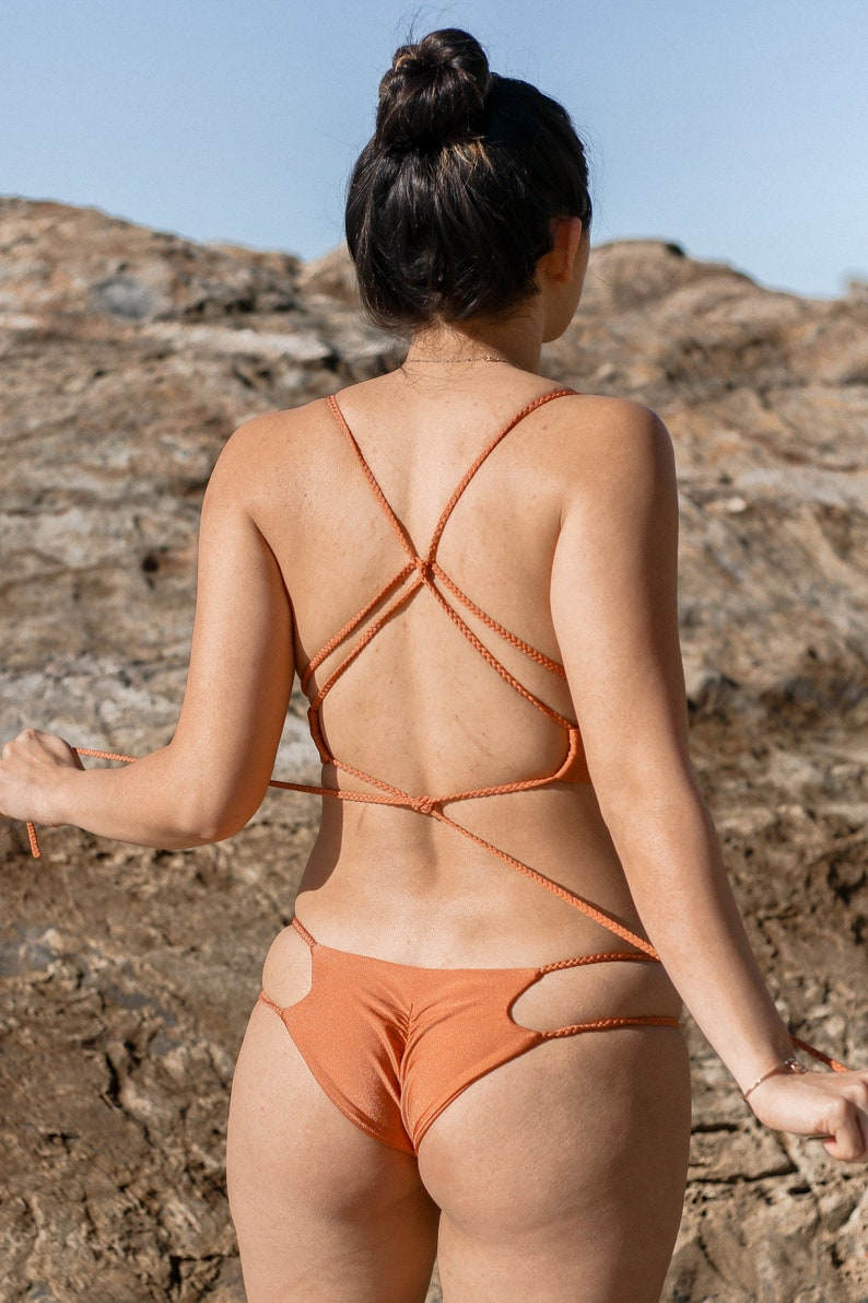 89c961b59 Copper Brazilian Bikini Bottom Thong Bikini Cheeky Bikini | Etsy