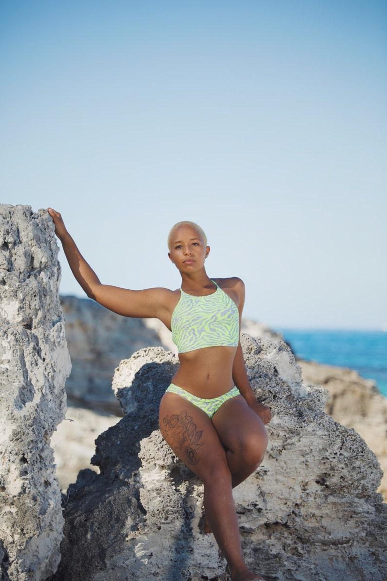 c04b65559 High Neck Halter Bikini Top Sporty Bikini Top Swimwear | Etsy