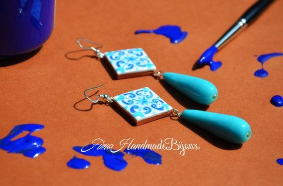 Maioliche blu orecchini siciliani tipici etsy
