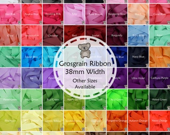 """Grosgrain Ribbon 1 3 or 5 Metre Cut of 38mm - (1 1/2"""") in 64 Plain Solid Colours"""