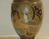 Vtg Or Antique Lg. Japanese Satsuma Vase W Gold Moriage Decoration, Signed