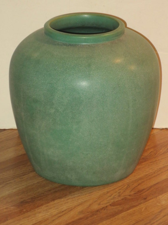 Large Antique Teco Pottery Matte Green Vase With Double Stamp Etsy