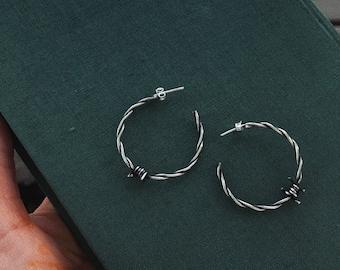 Vintage Style Hoops Sterling Silver Twisted MEDIUM SIZE Hoop Earrings Navajo Earrings. Rope Hoops Statement Earrings