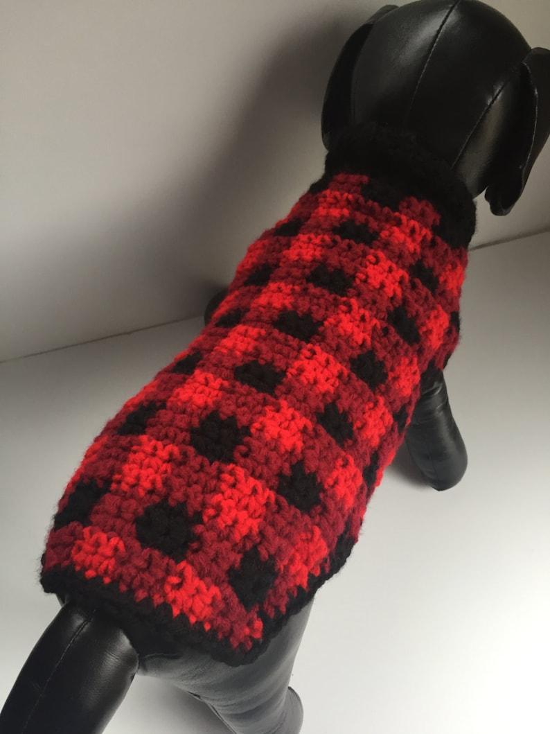 Plaid Dog Sweater Crochet Dog Clothes Dog Sweater Custom Etsy