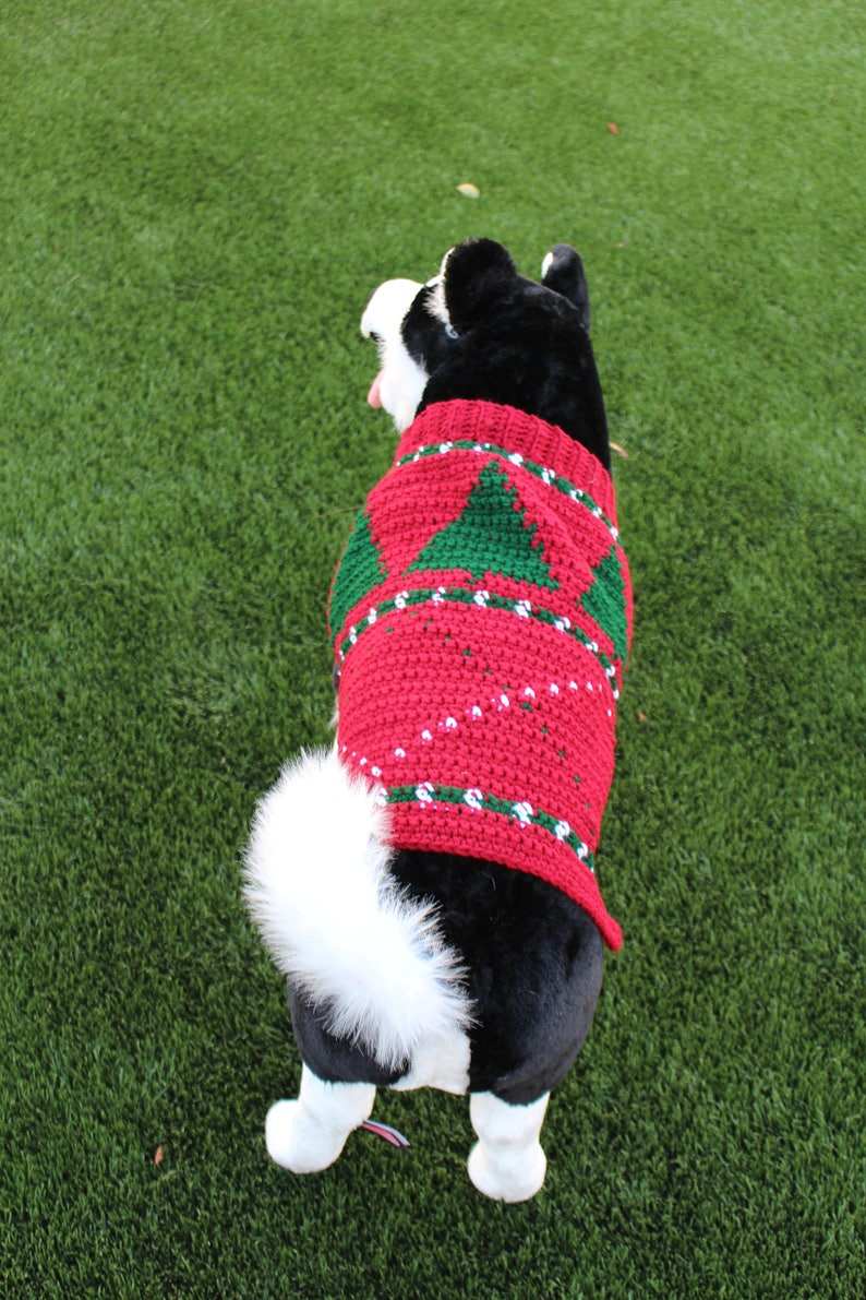 7a6237c1a15d Christmas Tree Argyle Pet Sweater Made to Order Holiday Dog