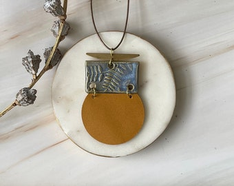 Leather, Brass & Ceramic Necklaces // Statement Necklace // Up-cycled Jewelry