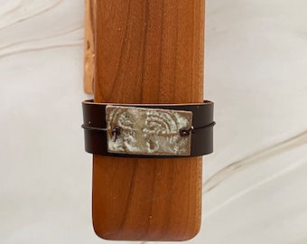 Brown Leather Cuff with Ceramic Bead // Up-cycled Leather Bracelet