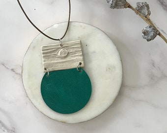 Leather & Ceramic Necklaces // Statement Necklace // Up-cycled Jewelry