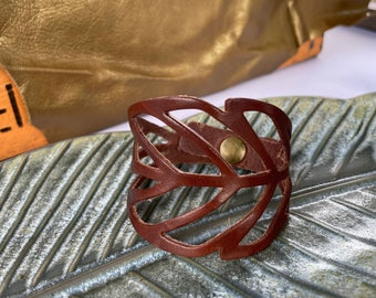 Leather Leaf Cuff // Up-cycled Leather Bracelet