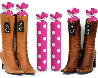 Boot Trees - Boot Shapers - Boot Stands Perfect For Closet Organization - Complementary Black Tie-On Wood Tags For Custom Personalization.