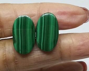 Malachite cufflinks organic men accessories gift for him oval green gemstone cufflinks stone silver