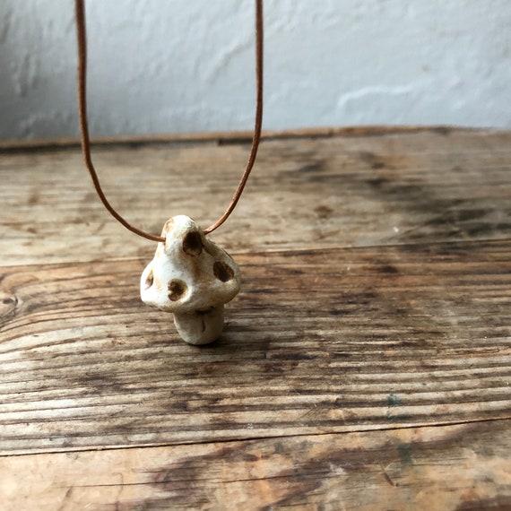 Ceramic Mushroom Pendant Necklace