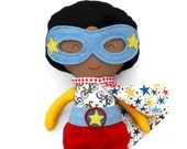 Black superhero doll, afroamerican fabric doll, genderneutral toy, doll with brown complexion, mixed kids toy, for superhero kids birthday