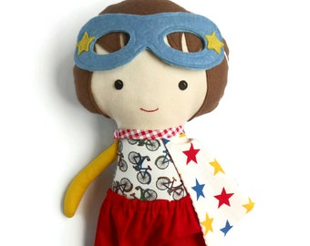 Superhero cloth doll rag dolls for boys toddler boy gift, kids toys for boys for super hero birthday party with cape and mask