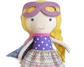 RAG DOLL superhero with cape and mask as birthday gift for toddlers kids super hero fabric doll toy chevron skirt, can be personalized