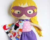 Doll superhero girl handmade rag doll with cape and mask, toddler toy gift for superhero birthday party, kids gift for girls, custom dolls