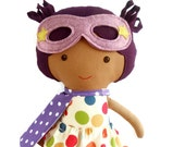 Black superhero girl doll, a rag doll toy for mixed race kids, african american doll for toddlers, black lives matter, gift for kwanzaa