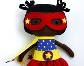 AFRO DOLL, black doll, ragdoll, superhero doll, fabric dolls, dolls, cloth dolls, handmade doll, african american doll, custom doll, softtoy