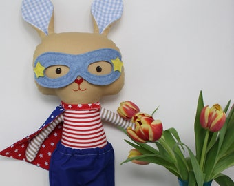 Stuffed bunny plush rabbit toys superhero ragdoll stuffed toy as easter gift for toddlers, bunny kids, softie for babyshower