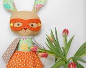 Stuffed easter bunny toy superhero rabbit plushie toddler gift handmade rabbit easter plush doll clothing, stuffed animal
