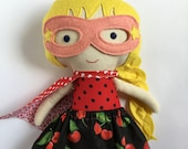 Rockabilly rag doll superhero girl with mask and cape with cherry print skirt handmade doll