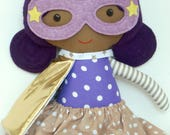 Black wondergirl ragdoll with superhero girl costume cape and mask, african americand doll for toddlers mixed kids for superhero birthday