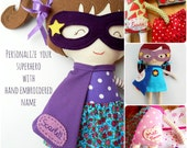 NAME TAG-Personalize your superhero doll, custom name on doll with hand embroidered name tag on the superhero cape - listing without doll!