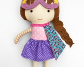 RAG DOLL, gift for kids, superhero girl, cloth doll with cape and mask, gift for superhero party, fabric dolls for toddler girls birthday