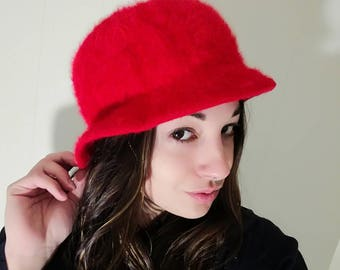 Vintage Cherry Red Angora Blend Bucket Hat