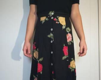 Vintage Floral Floor High Waisted Skirt