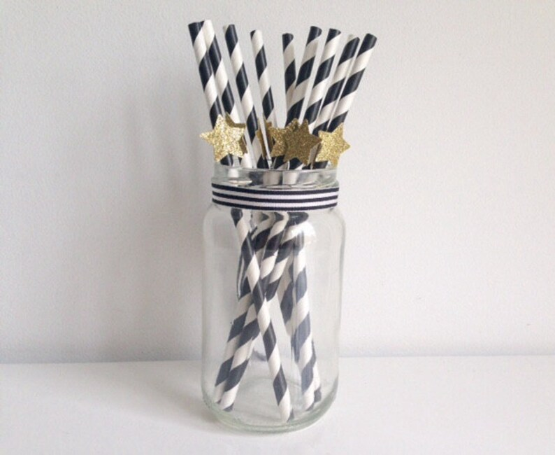 Birthday Wedding Party Black and White Stripe and Glitter Gold Star Straws