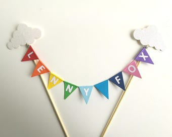 Personalised Birthday Cake Topper Rainbow Coloured Bunting with clouds